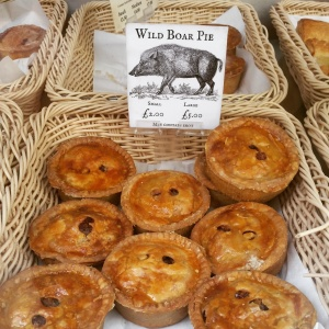 Wild boar pies, found at a pasty and pie shop in The Shambles.